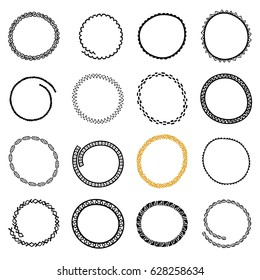 Hand drawn round logo frames set. Collection of Ethnic Stylized Templates for identity design, save the date wedding invitation, stamp or frame. Pattern brushes are included.