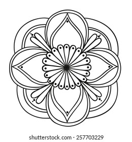 Hand drawn round pattern isolated. Vector element for your design