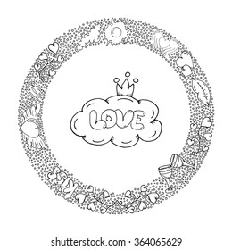 Hand Drawn Round Wreath Of Bubbles And Love Doodles Elements St Valentines