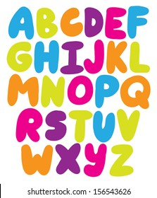 Hand drawn rounded alphabet ABS letters - vector