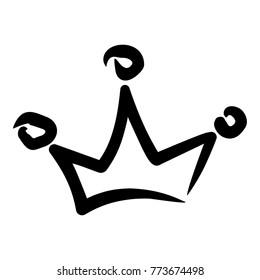 Hand drawn royal crown decorated with precious stones. Vector cartoon illustration. Objects isolated on a white background.