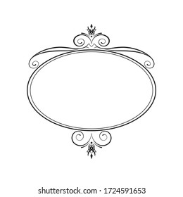 Hand drawn royal oval frame. Vintage calligraphic decor.  Vector isolated vignette border. Classic wedding invitation template.