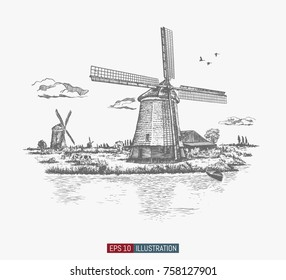 Hand drawn rural landscape. Vintage windmills, river, barn, cows, sky with clouds, birds, boat. Engraved style vector illustration. Element for your design works.