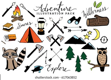 Hand Drawn Rustic Adventure and Camping Clip Art