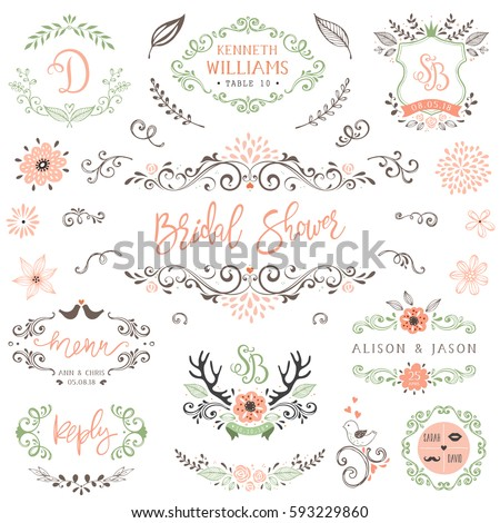 hand drawn rustic bridal shower and wedding collection with typographic design elements ornate motives