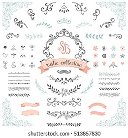 Hand drawn rustic design collection. Ornate motives, branches, dividers, wreaths, frames, banners, corners, flowers and brushes. Vector illustration.