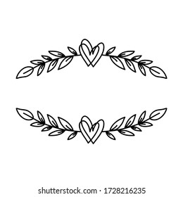 Hand drawn rustic floral border. Laurel wreath with hearts for wedding invitation or holidays postcard. Nature design element. Vintage ornament vector illustration isolated on white background.