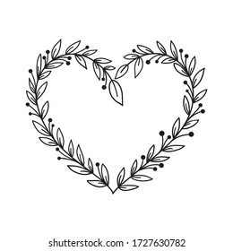 Hand drawn rustic floral frame. Laurel heart wreath for wedding invitation or holidays postcard. Nature design element. Vintage ornament vector illustration isolated on white background.