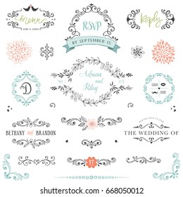 Hand drawn rustic Save the Date and Wedding collection with typographic design elements. Ornate motives, branches, wreaths, monograms, frames and flowers. Vector illustration.