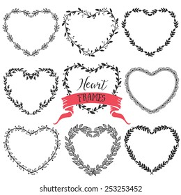 Hand drawn rustic vintage heart wreaths. Floral vector graphic. Nature design elements