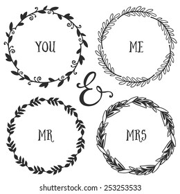 Hand drawn rustic vintage wreaths with lettering. Floral vector graphic. Nature design elements