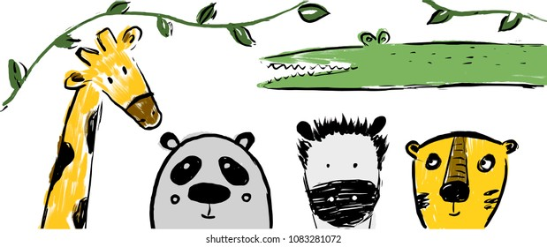 Hand drawn safari animals: panda, tiger,crocodile, zebra, giraffe. Can be used for child poster, book, card, t-shirt.