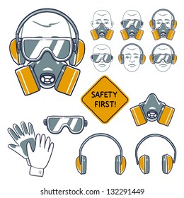 hand drawn safety signs. Eye protection, hear protection, wear respiratory protection and hand protection. safety first sign