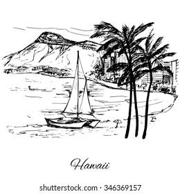 Hand drawn sail near the island Hawaii