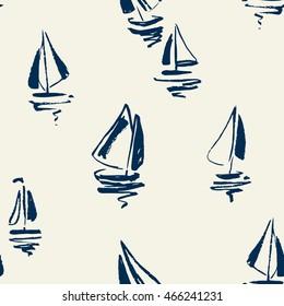 Hand drawn sailing yachts silhouettes seamless pattern