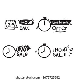 hand drawn Sale countdown. Last minute offer banner, one day sales and 24 hour sale promo. business limited special promotions doodle
