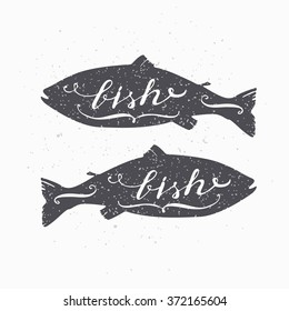 Hand drawn salmon fish hipster silhouette. Hand lettering. Seafood shop template for craft packaging or food restaurant design. Grunge paper style background. Vector illustration