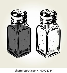 Hand drawn salt and pepper shakers on white background. Vector illustration