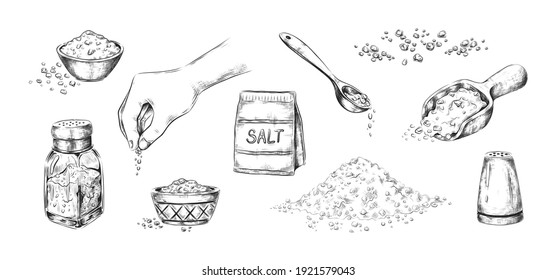 Hand drawn salt. Realistic saltcellar or bowl with salty flavor seasoning. Heaps of powder and scoops with sodium crystals. Tradition ingredient for cooking and conservation food. Vector sketches set
