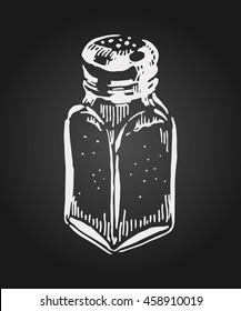 Hand drawn salt shakers on chalkboard. Vector illustration