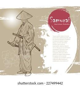 Hand drawn Samurai illustration.