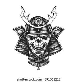 Hand drawn samurai skull wearing kabuto helmet. Vector illustration
