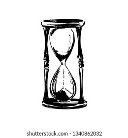 Hand drawn sandglass sketch illustration. Vector black ink drawing isolated on white background. Grunge style.