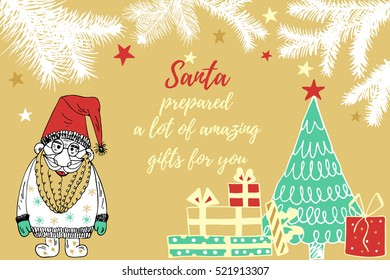 Hand drawn Santa .Merry Christmas greetings with Santa.Great design element for congratulation cards, banners,calendar and flyers.