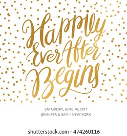 """Hand Drawn Save the Date Printable with the Phrase """"Happily Ever After Begins"""". Save the Date Card Invitation"""