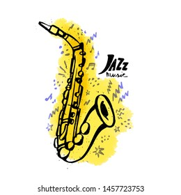 Hand drawn saxophone. Jazz music concept. Ink style vector illustration with yellow watercolor stain on white background