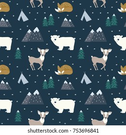 Hand drawn scandinavian animals in the forest, seamless pattern. Scandinavian style traditional motifs. Vector illustration.