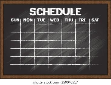 Hand drawn schedule on chalkboard.