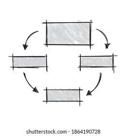hand drawn schema. four steps schema on white background