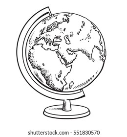 Hand drawn school globe. Model of Earth.Geography icon. Black and white vector illustration in sketch style isolated.