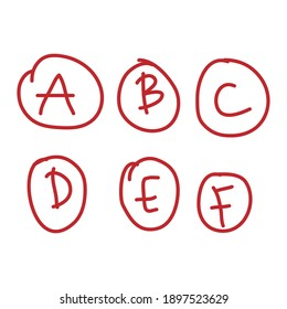 Hand drawn school grade results with A,B,C,D,E,F. Letters and plus grades marks in red circle.