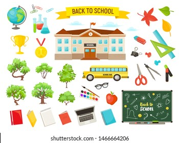 Hand drawn school objects collection. Vector illustration of study supply isolated on white background. Back to school. Schoolbus, blackboard, schoolhouse, trees.