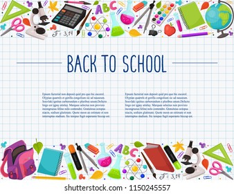 Hand drawn school objects in horizontal composition. Vector illustration of school accessories on squared background. Back to school.