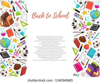 Hand drawn school objects in vertical composition. Vector illustration of school accessories isolated on white background. Back to school.