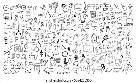 Hand drawn school signs and symbols
