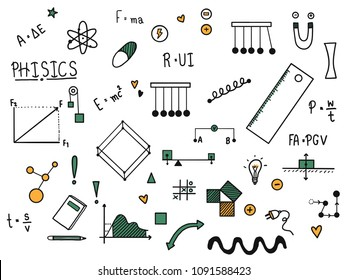 Hand drawn of science doodle set  with phisics concept, vector illustration design. Science and school education item.