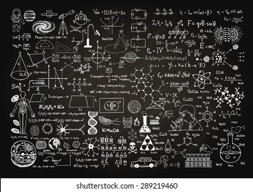 Hand drawn science formulas on chalkboard for background.
