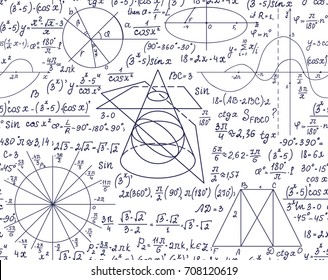 Hand drawn scientific mathematical vector seamless pattern with handwritten algebra formulas, equations and geometry figures on white paper