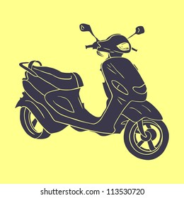 Hand drawn scooter silhouette on the yellow background. Vector illustration.