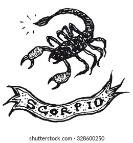 Hand drawn Scorpio horoscope sign with banner/ Illustration of a hand drawn Scorpio horoscope sign with banner