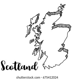 Hand drawn of Scotland map, vector illustration