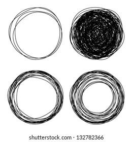 Hand drawn scribble circles, vector logo design elements
