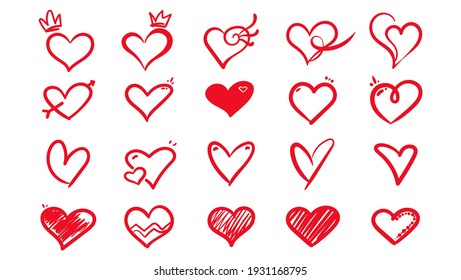 Hand drawn scribble hearts. shaped elements for valentines day greeting card. doodle hearts icons set. collection on romantic symbols on white background