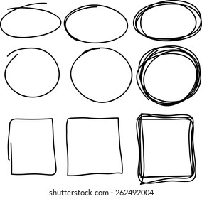 Hand drawn scribble, set of circle and square doodle frames, isolated on white background. Vector illustration.