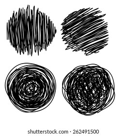Hand drawn scribble, set of doodle circles, isolated on white background. Vector illustration.