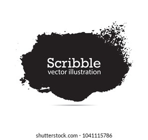 Hand drawn scribble symbols isolated on white background. Doodle style sketched Elements. Ink blots. Vector Grunge Brushes Stroke . Circle Fram
